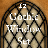 12 Gothic Pointed Arch Window Texture Set