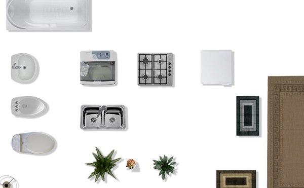 Texture psd 2d furniture floorplan for Kitchen set 2d