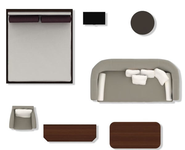 Bed Side Table Top View : Texture psd 2d furniture floorplan