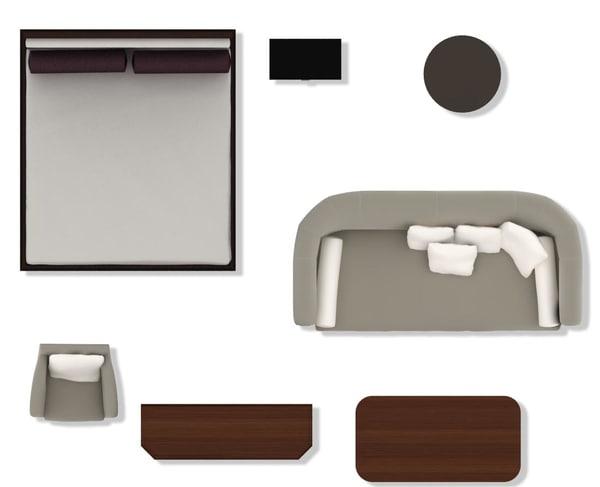 Texture psd 2d furniture floorplan