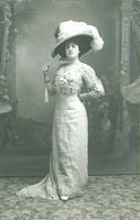 Old postcard woman with white hat