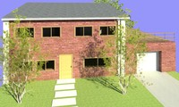 3d model terraced house exterior