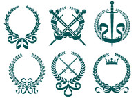 Laurel wreathes with heraldry elements