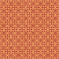 Coordinated Cottons - Red on Apricot Damask