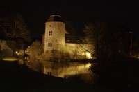 Moated Castle by night