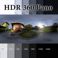 HDR 360 pano Country house sunset