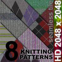 8 x Knit Patterns | Tileable | 2048px