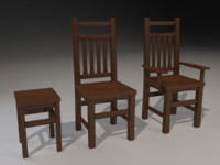 wooden chairs 3d max