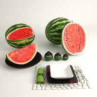 3d model sliced watermelons