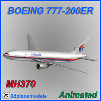 3d aircraft malaysia airlines boeing model