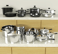 3d pots pans set model