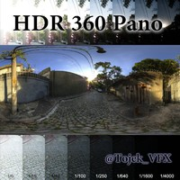 HDR 360 pano 3D Road01 Cobblestone