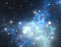 Space background filled with nebulae and stars