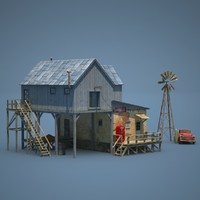 american farm shop old 3d model