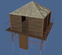 3d stilt house fishing model