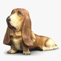 3d basset hound statuette model