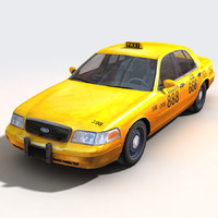 yellow cab taxi cars 3d model