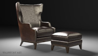 Forbes wing back chair and ottoman