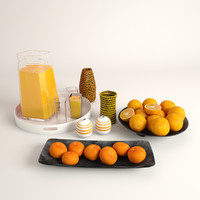 3d glass juice oranges mandarins