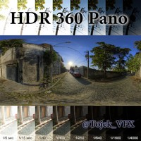 HDR 360 pano 3D Road02 cobblestone
