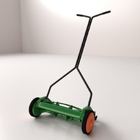 3d model push reel mower