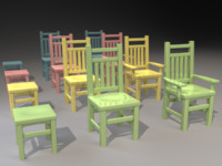 3d model kids chairs