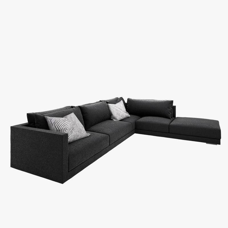 Obj Comfortable Sofa Contemporary Gray