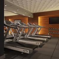 scene hotel gym 3d model