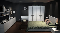 bedroom room modern 3d model
