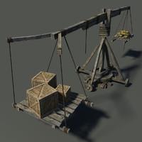 medieval wooden crane 3d max