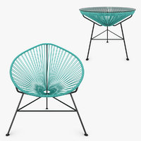 3d realistic acapulco chair table model