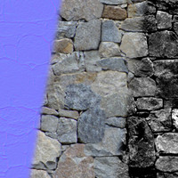 Dry Stone Wall 3 (Tileable, seamless; Diff + Spec + Norm)