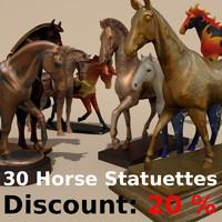 30 horse statuettes 1 3d 3ds