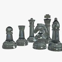 3d model glass set knight chess