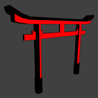 torii gate low-poly 3d obj