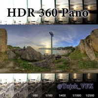 HDR 360 Pano 3D beach sunset02 7k