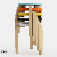3d wood artek stool 60 model