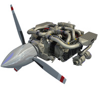 3ds max continental io-550 aircraft engine