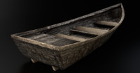 3d model old wooden barton skiff