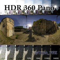 HDR 360 pano 3D Road03 Cobblestone
