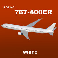 3d boeing 767-400er white