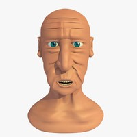 3d model of morphed head elderly man cartoon