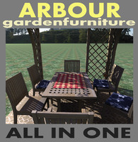arbour garden furniture 3d max