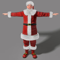 3d realistical santa claus human hair