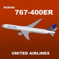 3d boeing 767-400er united airlines
