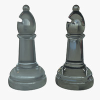 glass bishop chess piece 3d obj