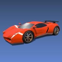 3d sports car concept model