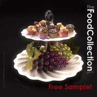 free grapes cakes cupcake 3d model