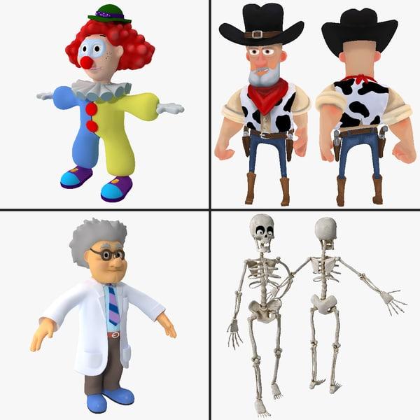 Rigged Cartoon Character Collection toon fantasy clown scientist skeleton cowboy mad desperado wild west man male skull