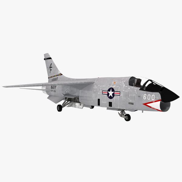F8 Crusader Navy Fighter Aircraft vought f8u supersonic US United States Naval reserve vietnam war vray transport transportation plane airplane